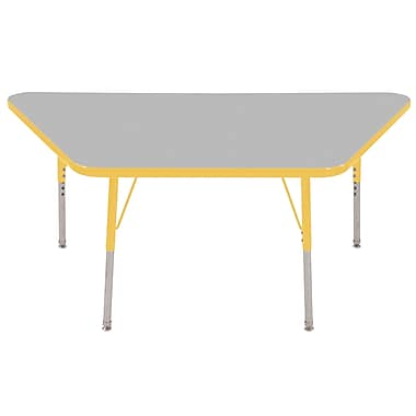 "30""x60"" Trapezoid T-Mold Activity Table, Grey/Yellow/Standard Swivel"