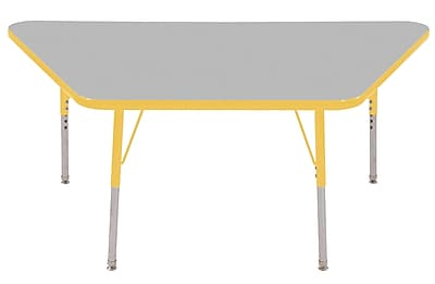 "30""x60"" Trapezoid T-Mold Activity Table, Grey/Yellow/Standard Swivel"