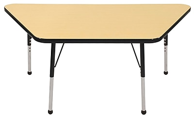 "30""x60"" Trapezoid T-Mold Activity Table, Maple/Black/Standard Ball"