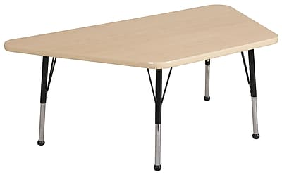 """30""""x60"""" Trapezoid T-Mold Activity Table, Maple/Maple/Black/Toddler Ball"""