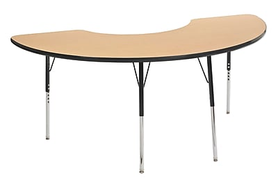 "36""x72"" Half Moon T-Mold Activity Table, Maple/Black/Standard Swivel"
