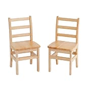 "ECR4®Kids 16""(H) 3 Rung Ladderback Hardwood Chair, Natural Oak, 2/Pack"