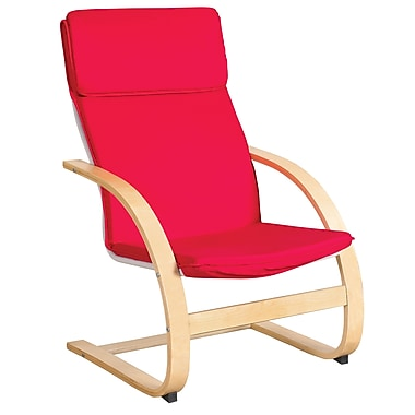 ECR4Kids® Adult Comfort Bentwood Chair, Red/Natural