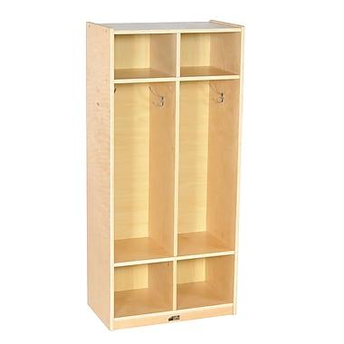 ECR4Kids® 2 Section Birch Straight Coat Locker, Natural