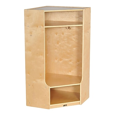 ECR4Kids® Corner Section Birch Straight Coat Locker With Bench, Natural