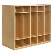 ECR4Kids® 10 Section Double-Sided Birch Coat Locker, Natural
