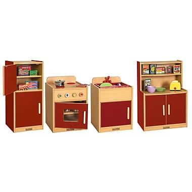 ECR4Kids® Colorful Essentials Play Kitchen Set, Red, 4 Piece