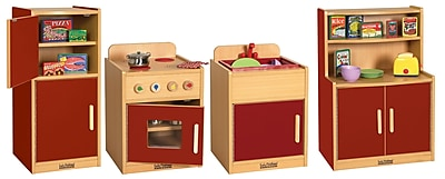 ECR4Kids® Colorful Essentials Play Kitchen Set, Red, 4 Piece