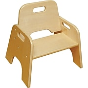 """ECR4®Kids 8""""(H) Stackable Wooden Toddler Chair, Natural, 2/Pack"""