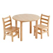 """ECR4Kids® 30""""H Round Table and 2 Chairs, Natural"""
