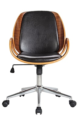 Boraam Wood Bankers Office Chair, Fixed Arms, Brown (97912)