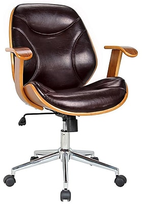 Boraam Rigdom Wood Bankers Office Chair, Fixed Arms, Brown (97914)