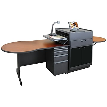 "Marvel® Vizion® 72"" x 30"" Laminate Instructors Desk W/Media Center/Acrylic Door, Cherry"