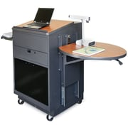 Marvel® Vizion® Dark Neutral Media Center Cart With Lectern and Acrylic Doors