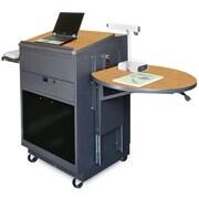 Marvel® Vizion® Dark Neutral Media Center Cart With Lectern and Acrylic Door, Oak