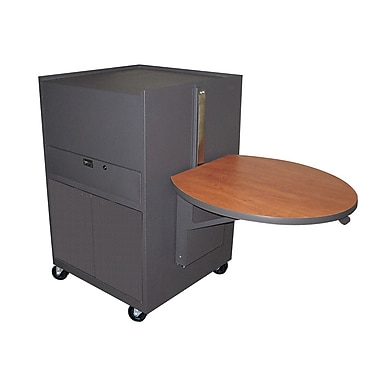 Marvel® Vizion® Dark Neutral Media Center Cart With Steel Door, Oak