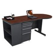 "Marvel® Zapf® 75"" x 30"" Laminate Teachers Conference Desk W/Bookcase; Figured Mahogany"
