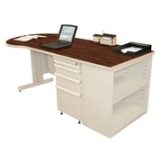 "Marvel® Zapf® 75"" x 30"" Laminate Teachers Conference Desk W/Bookcase; Figured Mahogany"
