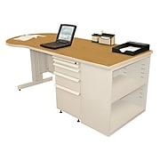 "Marvel® Zapf® Pumice 75"" x 30"" Laminate Teachers Conference Desk W/Bookcase, Solar Oak"