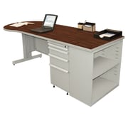 "Marvel® Zapf® Featherstone 87"" x 30"" Laminate Teachers Conference Desk W/Bookcase; Figured"