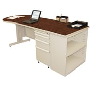 "Marvel® Zapf® 87"" x 30"" Laminate Teachers Conference Desk W/Bookcase; Figured Mahogany"