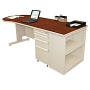 """Marvel® Zapf® 87"""" x 30"""" Laminate Teachers Conference Desk W/Bookcase, Collectors Cherry"""