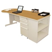 "Marvel® Zapf® 87"" x 30"" Laminate Teachers Conference Desk W/Bookcase; Solar Oak"