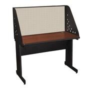 "Marvel® Pronto® Dark Neutral 48"" x 30"" Laminate Training Table W/Carrel & Modesty Panel, Chalk"