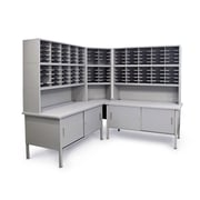 "Marvel® Mailroom 70"" -  78"" x 90"" x 30"" 120 Slot Corner Literature Organizer W/Cabinet, Gray"