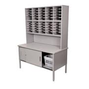 "Marvel® Mailroom 76"" -  84"" x 60"" x 30"" 50 Slot Literature Organizer W/Riser & Cabinet, Gray"