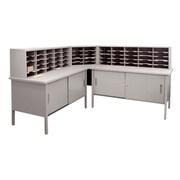 "Marvel® Mailroom 44"" -  60"" x 90"" x 30"" 60 Slot Literature Organizer With Cabinet, Gray"