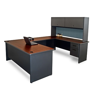 Marvel® Pronto® Laminate U-Shaped Desk with Flipper Door Unit, Slate