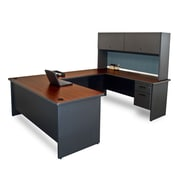 Marvel® Pronto® Laminate U-Shaped Desk with Flipper Door Unit, Slate