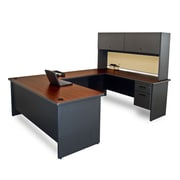 "Marvel® Pronto® 8'6""L x 6'W U-Shaped Desk with Flipper Door Unit, Beryl Laminate"