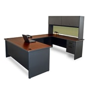 "Marvel® Pronto® 8'6"" x 6' Laminate U-Shaped Desk W/Flipper Door Unit; Peridot"