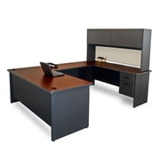 "Marvel® Pronto® 8'6"" x 6' Laminate U-Shaped Desk W/Flipper Door Unit; Chalk"