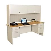 "Marvel® Pronto® 72"" x 30"" Laminate Double Pedestal Desk W/Flipper Door Cabinet, Chalk"