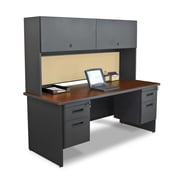 "Marvel® Pronto® 72"" x 30"" Laminate Double Pedestal Desk W/Flipper Door Cabinet; Beryl"