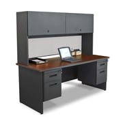 "Marvel® Pronto® 72"" x 30"" Laminate Double Pedestal Desk W/Flipper Door Cabinet; Chalk"