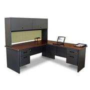 "Marvel® Pronto® 72""L x 78""W Laminate Desk with Return and Pedestal, Dark Neutral Peridot"