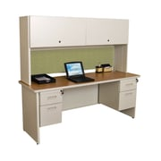 "Marvel® Pronto® 72"" x 24"" Laminate Double Pedestal Credenza Desk W/Flipper Door; Peridot"
