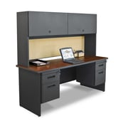 "Marvel® Pronto® Dark Neutral 72"" x 24"" Laminate Double Pedestal Credenza Desks W/Flipper Door"