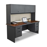 "Marvel® Pronto® 72"" x 24"" Laminate Double Pedestal Credenza Desk W/Flipper Door; Chalk"