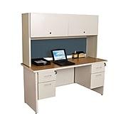 "Marvel® Pronto® Pumice 60"" x 24"" Laminate Double Pedestal Credenza Desk W/Flipper Door, Slate"