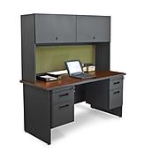 "Marvel® Pronto® Dark Neutral 60"" x 24"" Lam Double Pedestal Credenza Desk W/Flipper Door, Peridot"