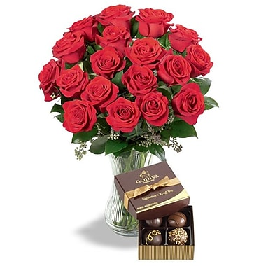 What a Bloom – Bouquet de 24 roses rouges de Cupidon avec truffes Godiva