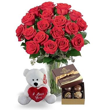 What a Bloom – Bouquet de 24 roses rouges de Cupidon avec truffes Godiva et ourson d'amour