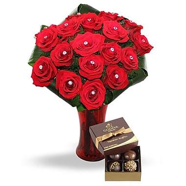 What a Bloom – Bouquet de 18 roses rouges avec pierres précieuses et truffes Godiva