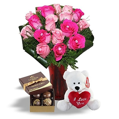 What a Bloom – Bouquet de 18 roses roses de Cupidon avec truffes Godiva et ourson d'amour