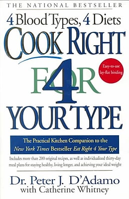 Cook Right 4 Your Type Peter J. D'Adamo, Catherine Whitney Paperback